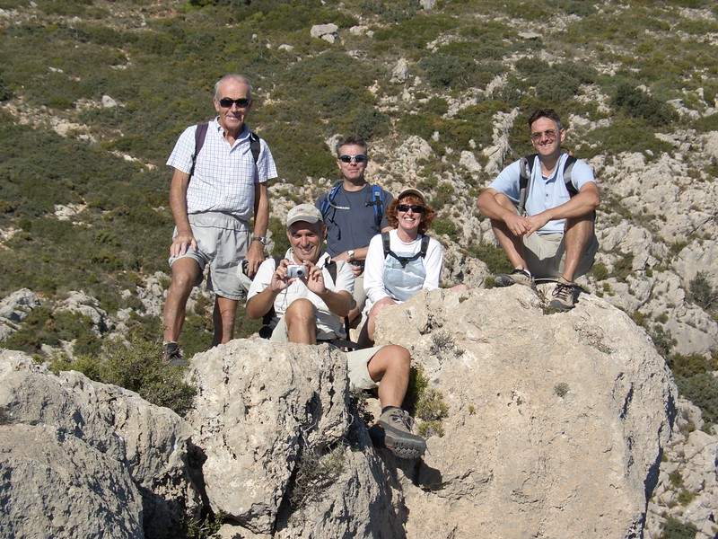 Taking a break on the Puig Campana ascent