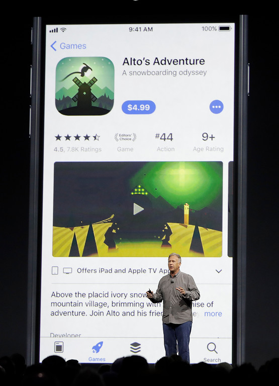 . Phil Schiller, Apple\'s senior vice president of worldwide marketing, speaks during an announcement of new products at the Apple Worldwide Developers Conference in San Jose, Calif., Monday, June 5, 2017. (AP Photo/Marcio Jose Sanchez)