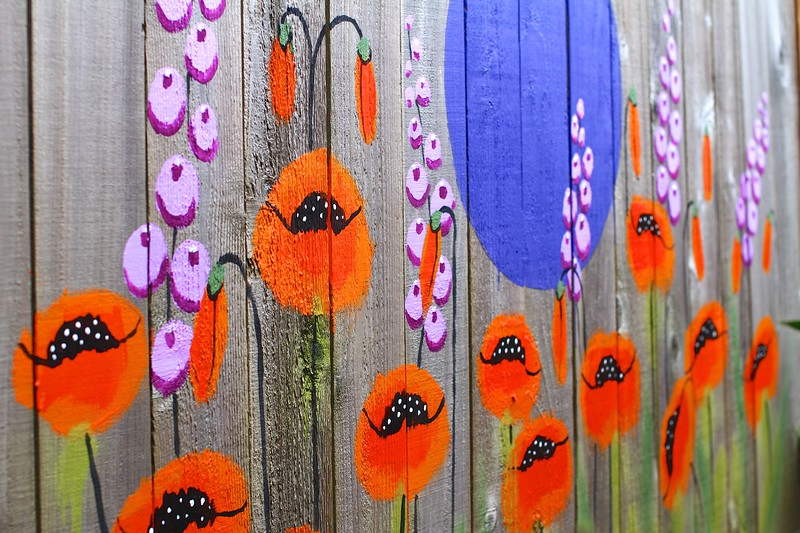 """The Poppy 'Room"""" in the back yard garden is coming along nicely!  Still a lot more mural to paint but it's a good start"""