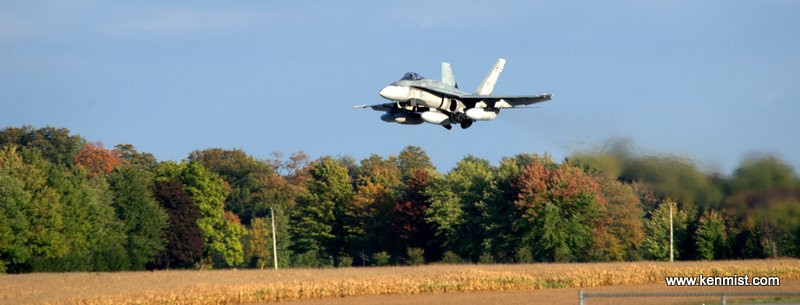 CF-18 from Bagotville Quebec low and over at London International Airport