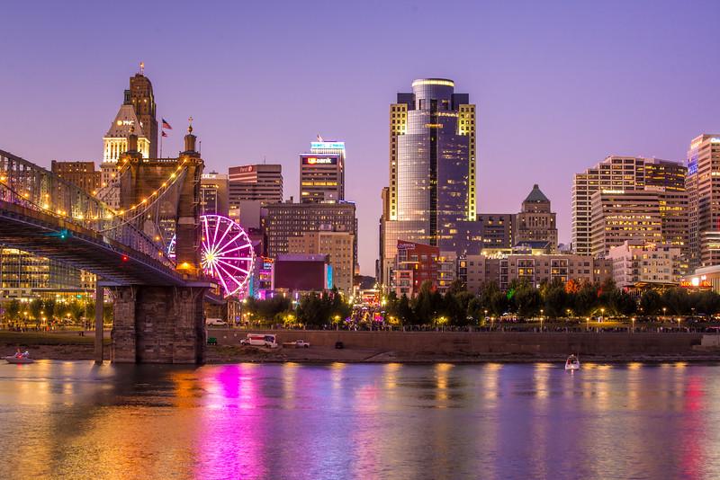 Cincinnati Skyline Sunset - Ohio River - Roebling Bridge - Blink Festival