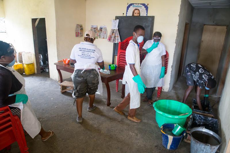 Monrovia, Liberia October 6, 2017 - Students at REVSLA gather to make soap.