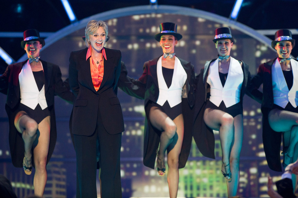 . Jane Lynch performs with dancers on stage at the 2011 TV Land Awards on Sunday, April 10, 2011, in New York. (AP Photo/Charles Sykes)