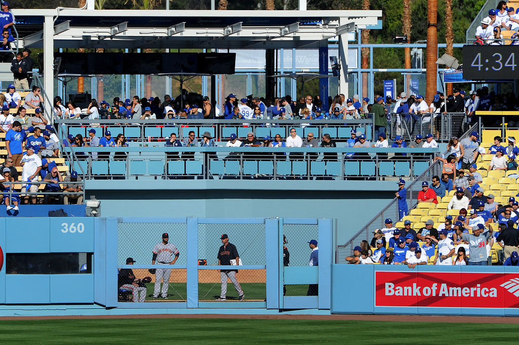 . New seats behind the Giants bullpen at the Dodgers home opener, Friday, April 4, 2014, at Dodger Stadium. (Photo by Michael Owen Baker/L.A. Daily News)