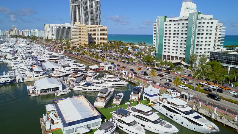 Drone footage busy day at the boat show