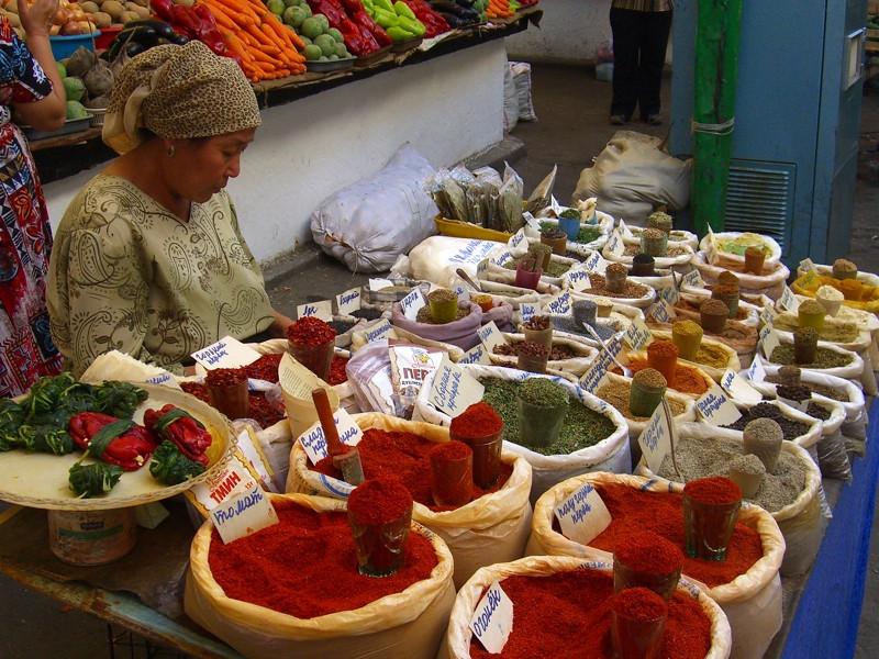 Spice Stand at Osh Bazaar - Bishkek, Kyrgyzstan