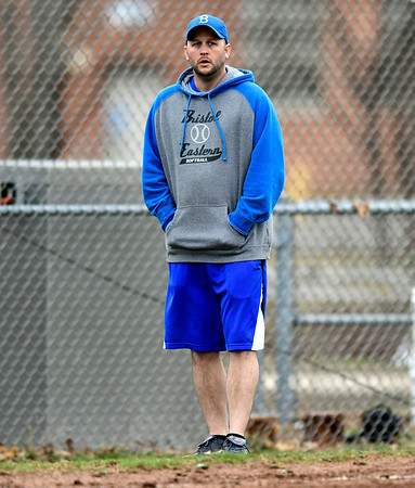 4/9/2019 Mike Orazzi   Staff Bristol Eastern softball coach Scott Redman during Tuesday's softball game with Southington in Bristol.