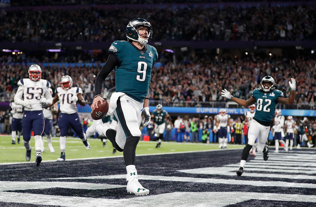 . Philadelphia Eagles quarterback Nick Foles celebrates his touchdown catch during the first half of the NFL Super Bowl 52 football game against the New England Patriots Sunday, Feb. 4, 2018, in Minneapolis. (AP Photo/Jeff Roberson)