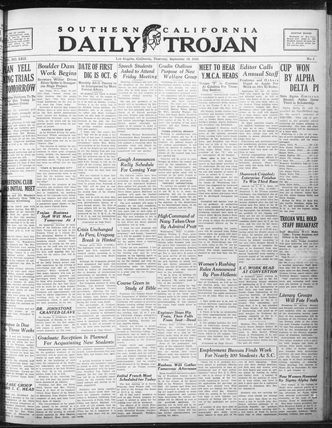 Daily Trojan, Vol. 22, No. 5, September 18, 1930