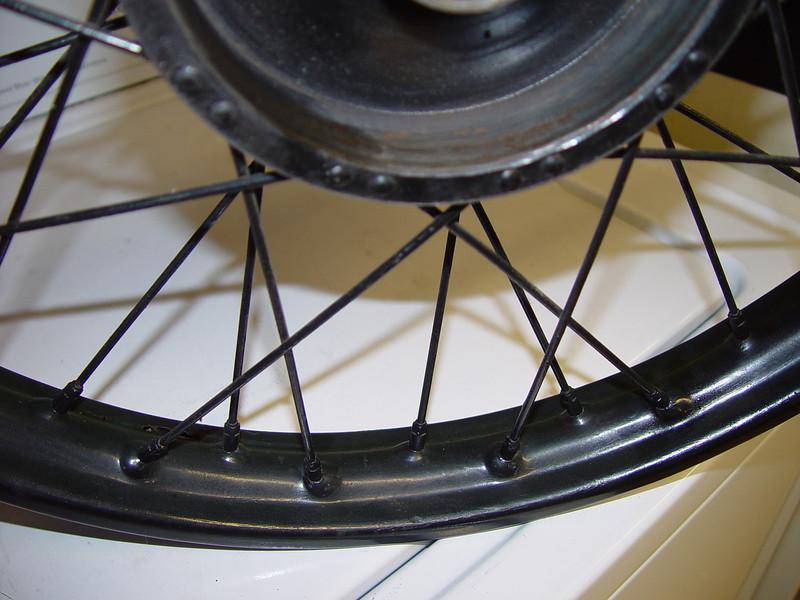 front wheel spokes closeup