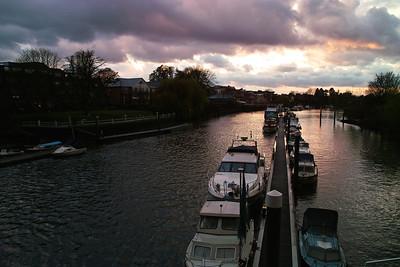 Testing Teddington Lock at sunset