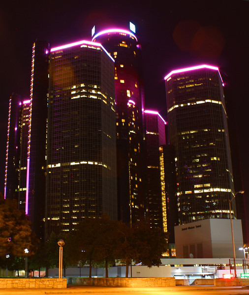 The Renaissance Center Detroit,Mi. in  neon pink for Breast Cancer Awareness month.