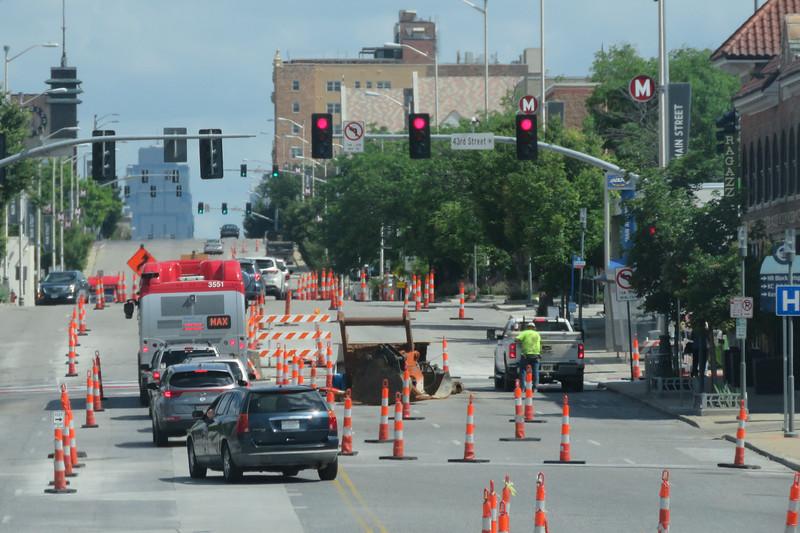 Construction on Main Street in Kansas Ciy near 43rd Street, June 7, 2021