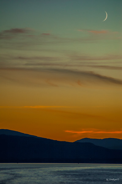Sunset with Moon 1