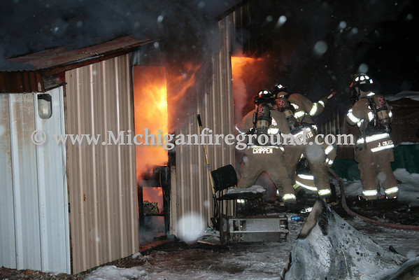1/20/14 - Delhi Twp pole barn fire, 741 N. Eifert Rd