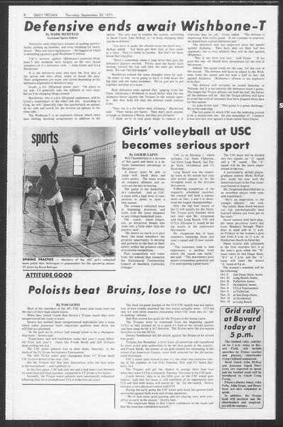 Daily Trojan, Vol. 64, No. 9, September 30, 1971