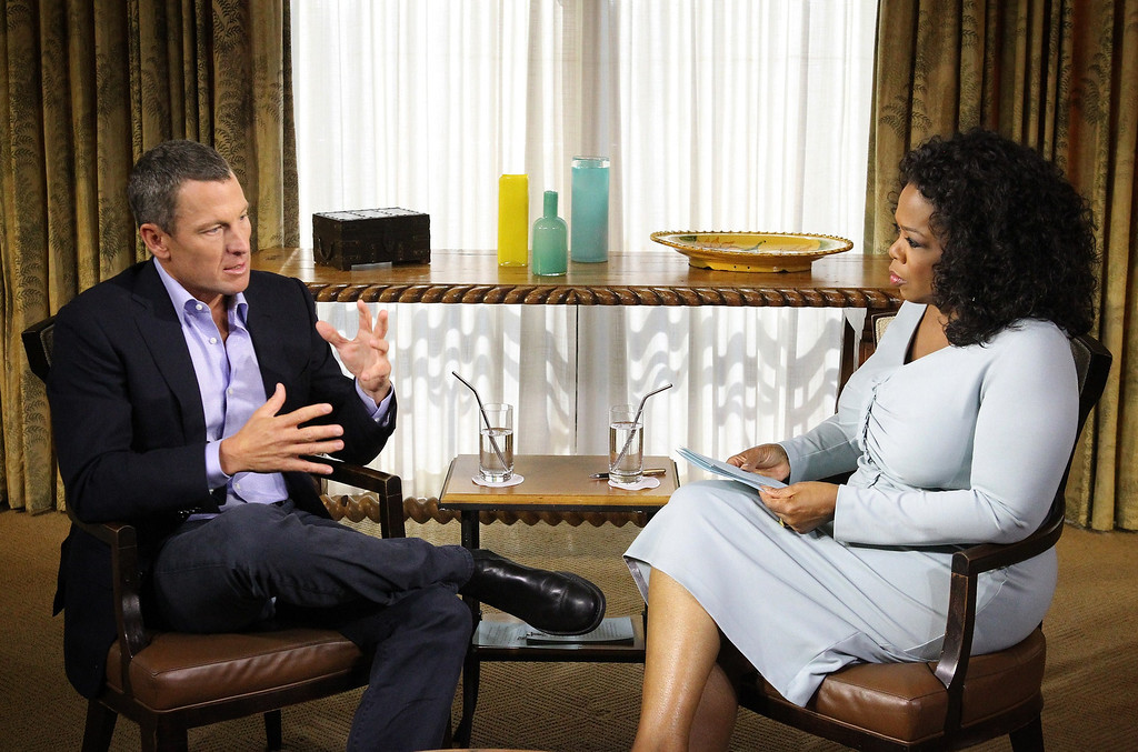 . Oprah Winfreys hosts an exclusive interview with  American cyclist Lance Armstrong.  Armstrong addressed the alleged doping scandal, following years of accusations of cheating and charges of lying about the use of performance-enhancing drugs throughout his storied cycling career. Armstrong was given a lifetime ban on competing professionally.    GEORGE BURNS/AFP/Getty Images