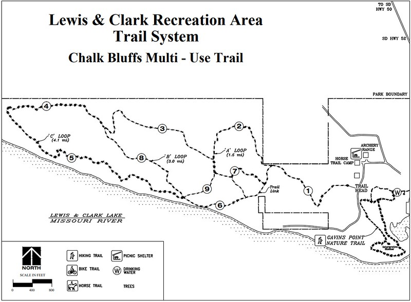 Lewis and Clark Recreation Area (Trail Map - Chalk Bluffs)