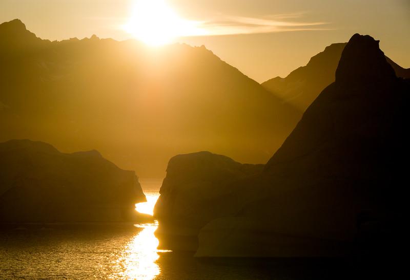 Sunset across Sirmilik Fjord