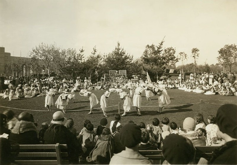 Children performing dances at the annual International Folk Dancing Festival, ca.1930