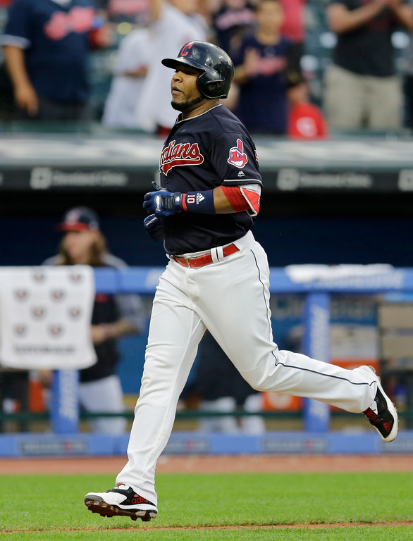 . Cleveland Indians\' Edwin Encarnacion runs the bases after hitting a solo home run off San Diego Padres starting pitcher Dinelson Lamet during the fifth inning of a baseball game, Thursday, July 6, 2017, in Cleveland. (AP Photo/Tony Dejak)