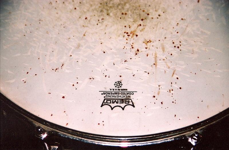 Steve Elkins' blood on snare drum (Liverpool, England).