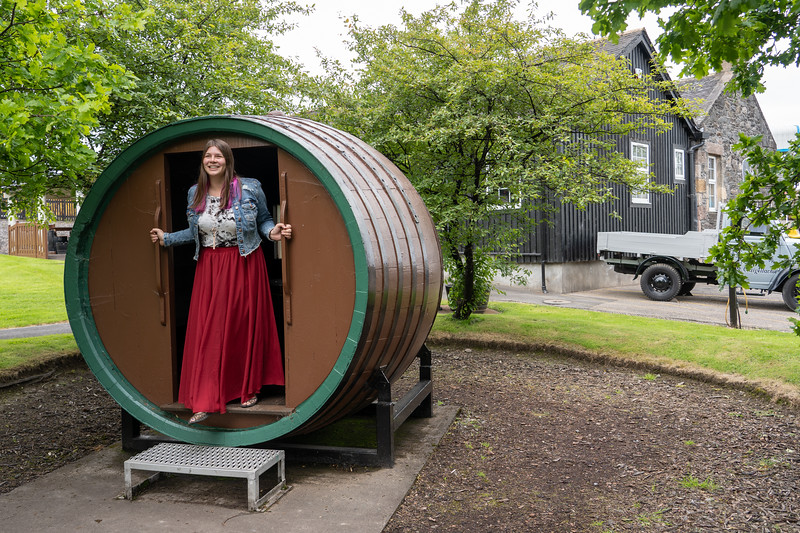 Amanda in a giant barrel at Speyside Cooperage