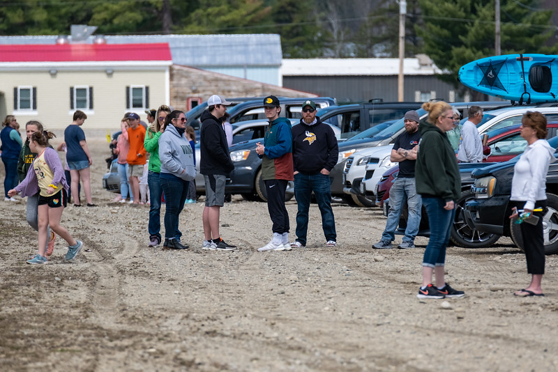 After the end of the parade, supporters park in the Oxford Plains Speedway parking lot accross from the Pink Feather Foundation building where Justin Corrente volunteers.