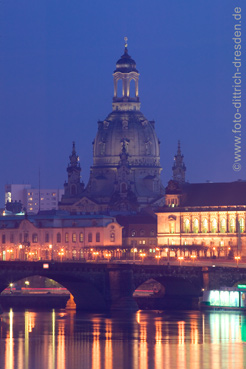 The majestic cupola of the Frauenkirche crowns the skyline of Dresden along the Elbe again, as if it has never been destroyed during the bombardment of 1945. Photo Sylvio Dittrich.  (Attention: this picture is not made by us and is not included in any feature price arrangement by us. This photo can be obtained in high resolution at our collegue Sylvio Dittrich).