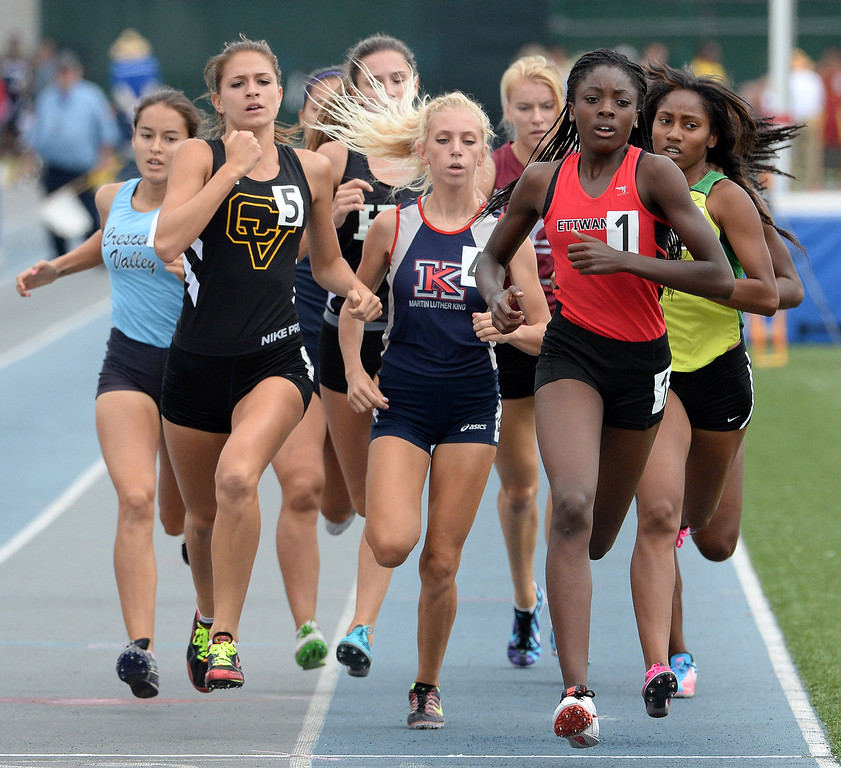 . Etiwanda Jacquelyn competes in the division 1 800 meters race during the CIF Southern Section track and final Championships at Cerritos College in Norwalk, Calif., Saturday, May 24, 2014.   (Keith Birmingham/Pasadena Star-News)