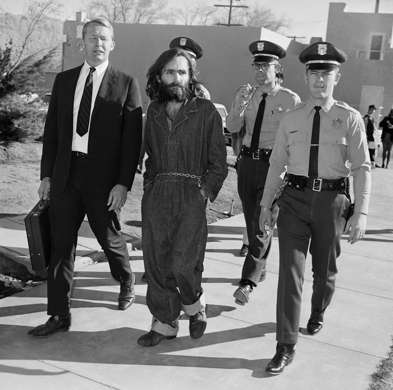 . Charles Manson is shown en route to court in Independence, Calif., Dec. 3, 1969. (AP Photo/Harold Filan)