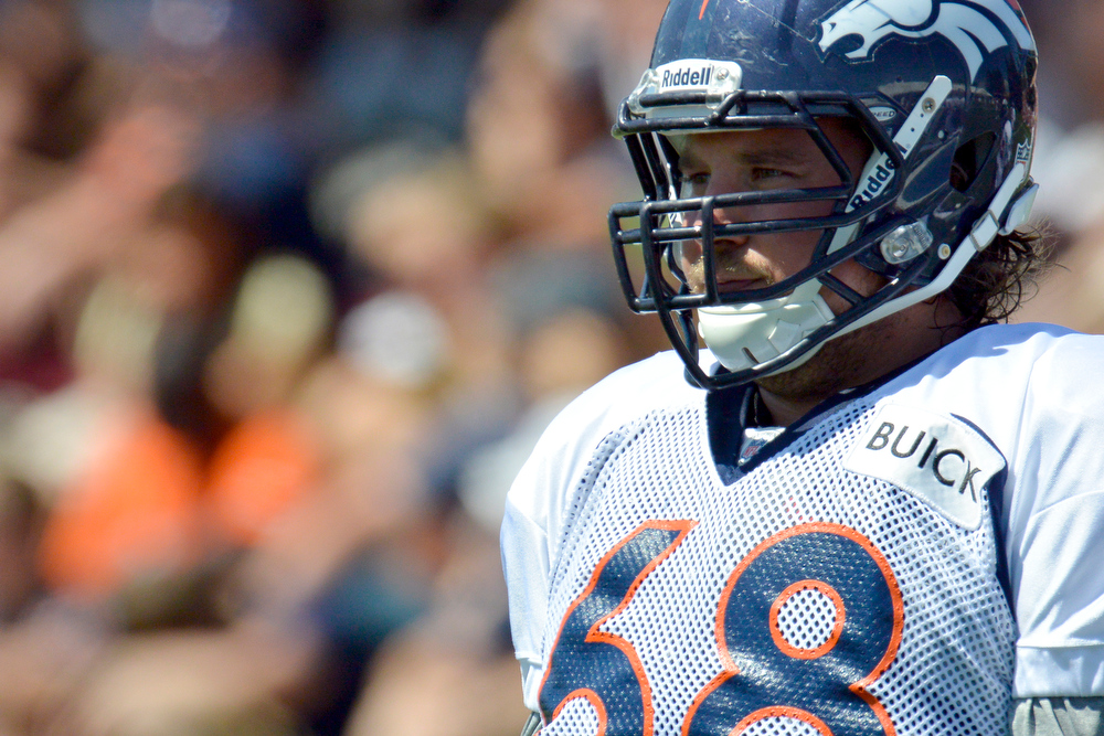 . Denver Broncos G Zane Beadles (68) looks on during training camp July 31, 2013 at Dove Valley. (Photo By John Leyba/The Denver Post)