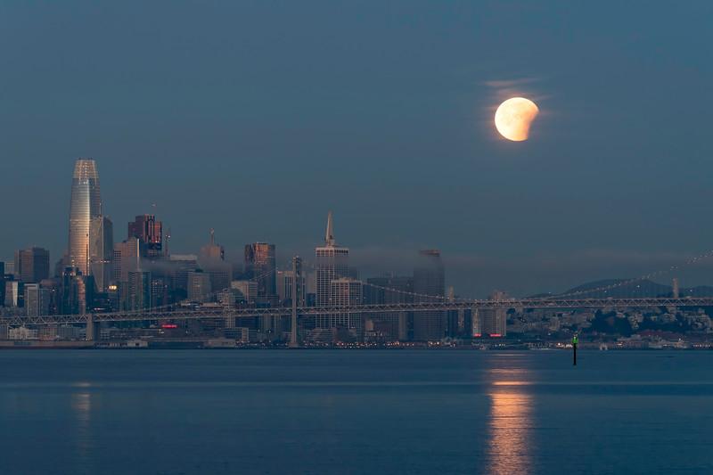 Lunar Eclipse over San Francisco