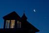 crescent moon showing earthshine & planet venus, predawn