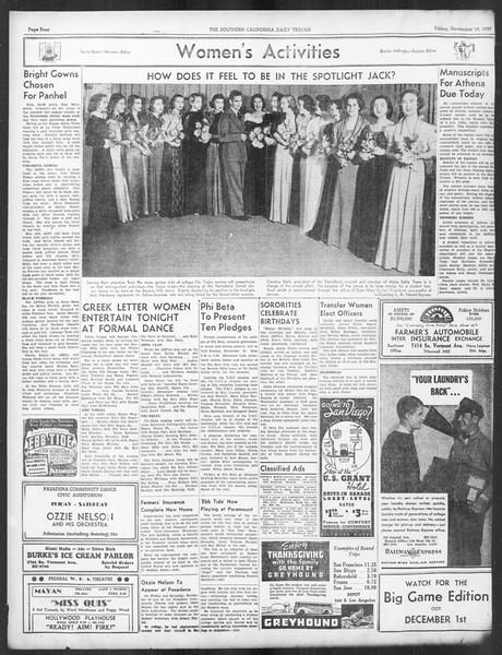 Daily Trojan, Vol. 29, No. 44, November 19, 1937