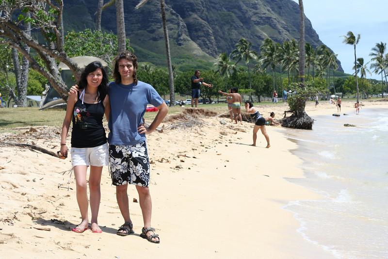 pato and monica at kualoa beach park
