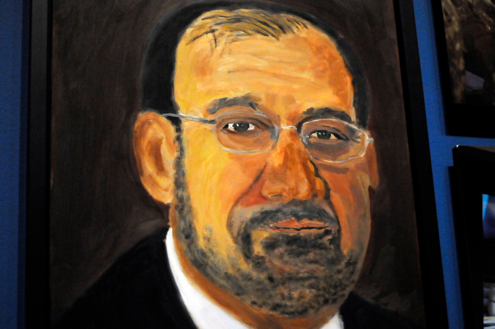 """. A portrait of Iraqi Prime Minister Nouri al-Maliki which is part of the exhibit \""""The Art of Leadership: A President\'s  Diplomacy,\"""" is on display at the George W. Bush Presidential Library and Museum in Dallas, Friday, April 4, 2014. (AP Photo/Benny Snyder)"""