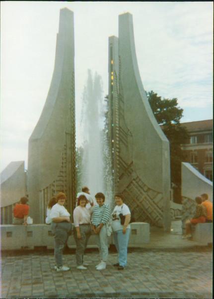 Joyce, Samantha, Laura Brown, Mom Purdue Fountain
