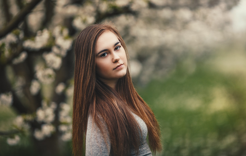 Tori - Senior Photography-Cherry Blossoms - Linden - California