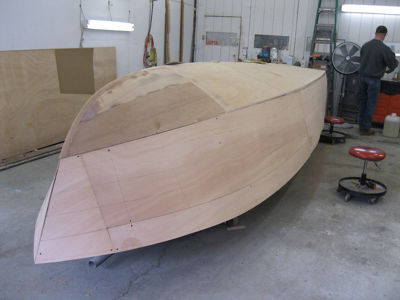 Starboard view of all the plywood fit.