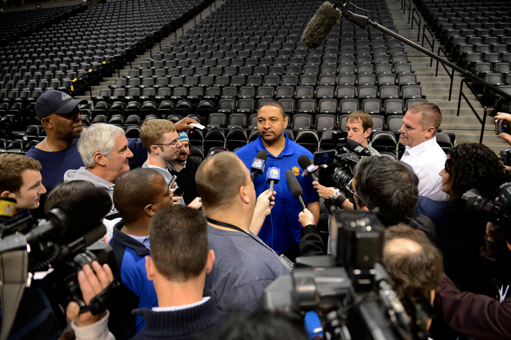 . Mark Jackson of the Golden State Warriors meets with the press prior to their practice April 22, 2013 at Pepsi Center. The Golden State Warriors prepare for game two of the first round of the NBA playoffs against the Denver Nuggets. (Photo By John Leyba/The Denver Post)