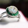 1.30ctw Old European Cut Diamond Emerald Target Ring 29