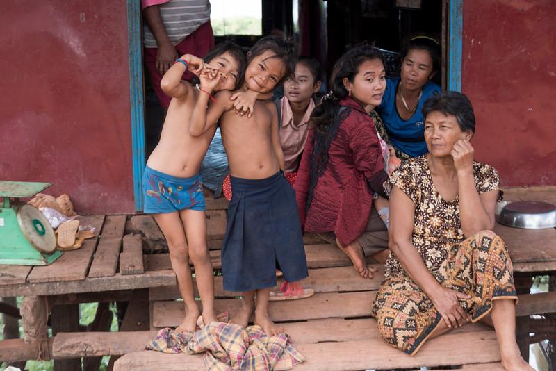 Portrait of children making gestures, Siem Reap, Cambodia