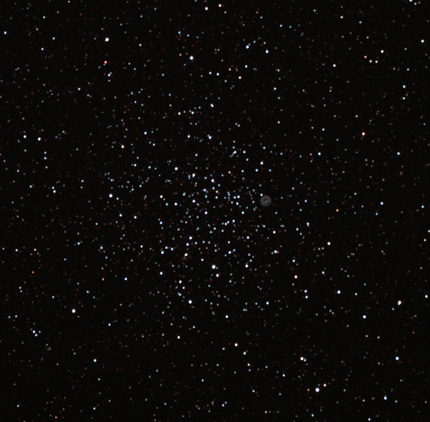Messier M46 - NGC2437 Open Cluster and NGC2438 Planetary Nebula 29/2/2012  A fascinating open cluster with an imbedded Planetary nebula, just right of centre as shown.  DeepSkyStacker 3.3.2 Stacked 80% of 20 Images ISO 800 120 Sec, 32 DARK, 0 BIAS, 0 FLATS, Post-processed by Photoshop CS5  Telescope - Apogee OrthoStar LOMO 80/480 with Hotech SCA Field Flattener, Hutech IDAS LPS-P2 filter, Canon 400D DSLR, Ambient 22C. Mount - Skywatcher NEQ6 Pro. Guidescope - Orion ShortTube 80 with Star Shoot Auto Guider.