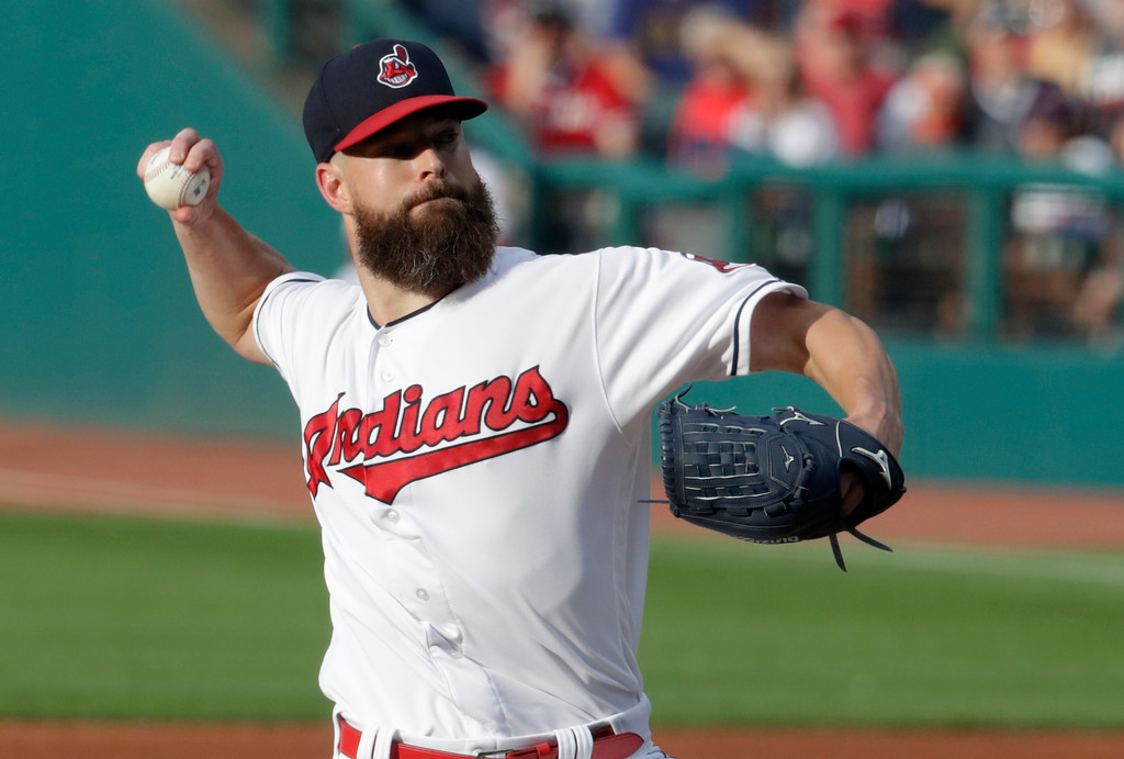 . Cleveland Indians starting pitcher Corey Kluber delivers in the first inning of a baseball game against the New York Yankees, Thursday, July 12, 2018, in Cleveland. (AP Photo/Tony Dejak)