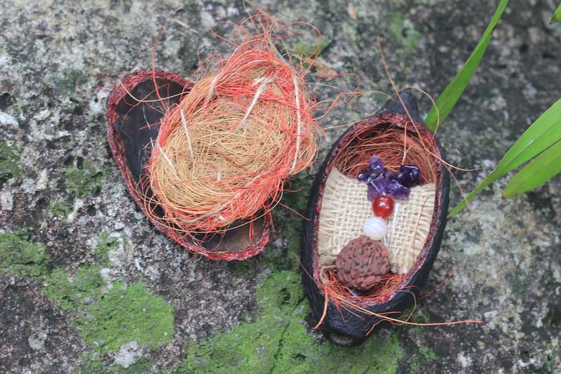 Amethyst Rudraksha jewelry in Cacao pod gift-box