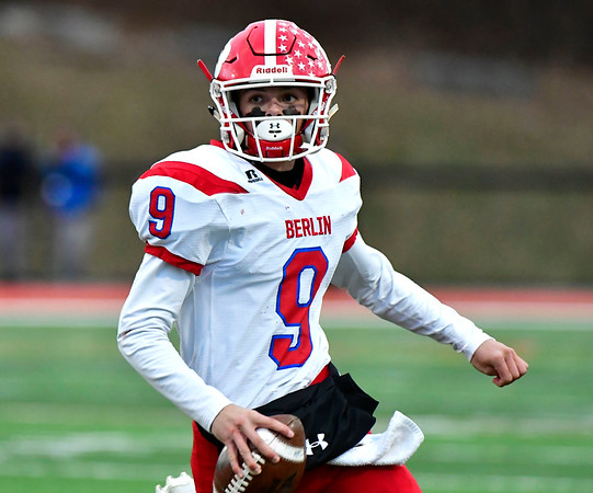 12/8/2018 Mike Orazzi | Staff Berlin's Kevin Dunn (9) during Saturday's Class M Football State Football Championship with St. Joesph at Shelton High School. St. Joseph won St. Joseph 70 to 18.