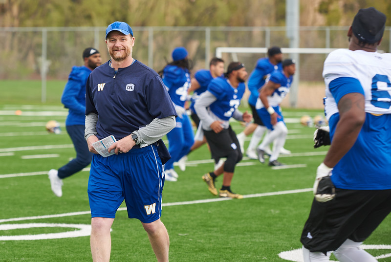 Mike O'Shea during Winnipeg Blue Bombers rookie camp Wednesday May 15, 2019.