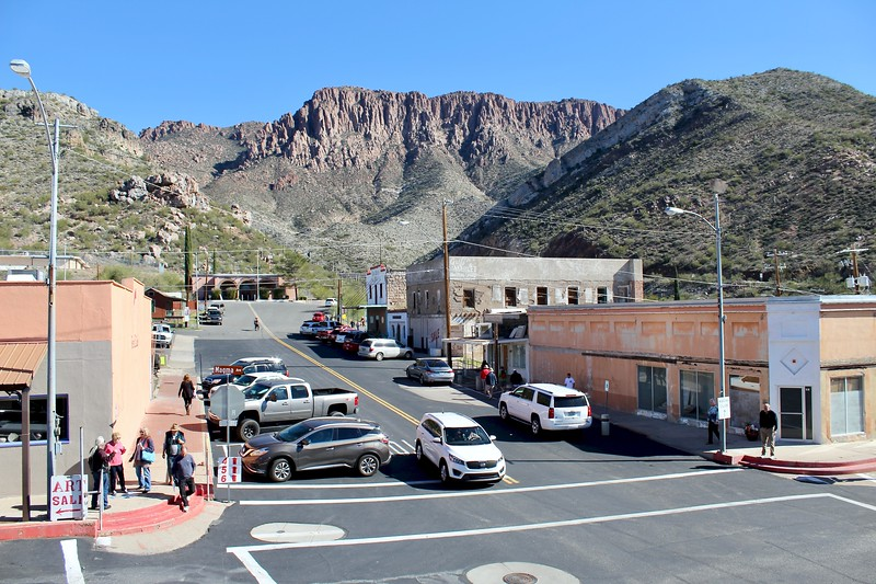 Main Street and Apache Leap viewed from the balcony of the Magma Hotel (2019)