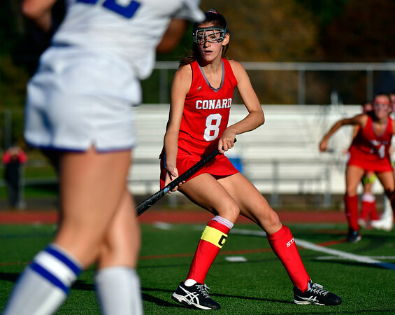 10/15/2019 Mike Orazzi | StaffrConard High Schools Caroline Kumpa (8) during a 2-2 tie in field hockey action with Southington High School in Southington on Tuesday afternoon.
